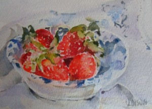 Strawberries in Dish  -  5.75 in x 7.5 in - 14 cm x  19 cm - Arches 640 GMS -