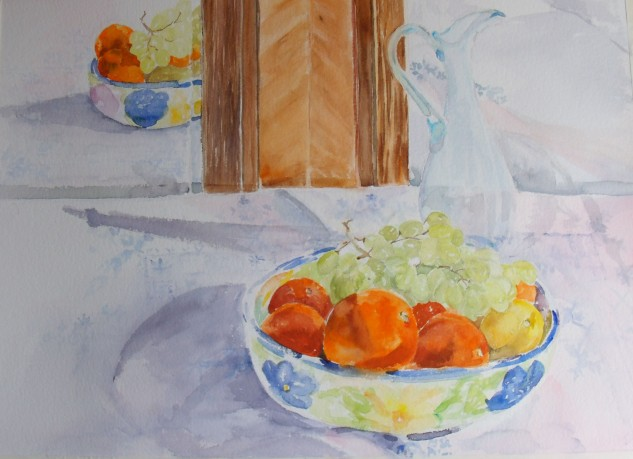 Here I started putting in details, and contrasting colors, re-analyzing the shapes.  But always working around the paper.