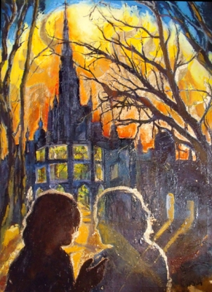 An oil resin painting of Dante's Inferno Canto IV in Limbo. There are two figures in the foreground and a castle in the background with a light illuminatiing the sky with trees on both sides.
