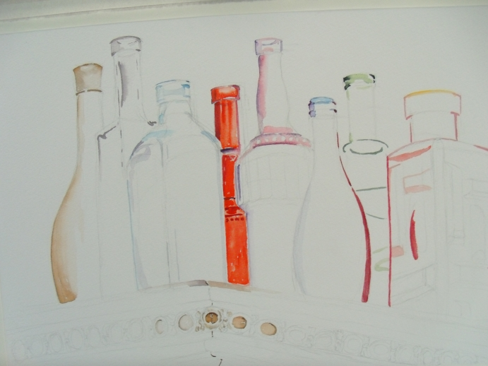 I started with the red bottle in the middle because I'm using this as a measure for the other values and colors.  I start to build around this bottle.