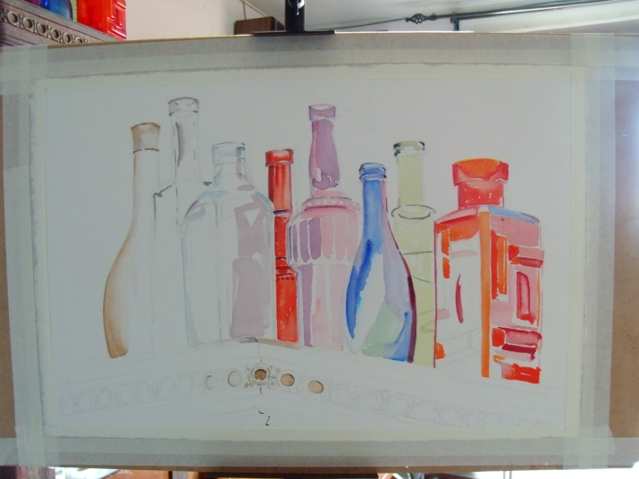 Working all around the bottles as well as the foreground.  At the moment.  I don't need to work on the background because it's almost white.