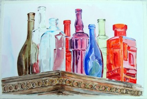 Glass Bottles on top of Antique Closet 2015 Watercolor on Arches 640 GSM - 15 in x 22 in - 38 cm x 56 cm - unframed - $200.00 USD -  Contact: victoriaangelesolson@hotmail.com