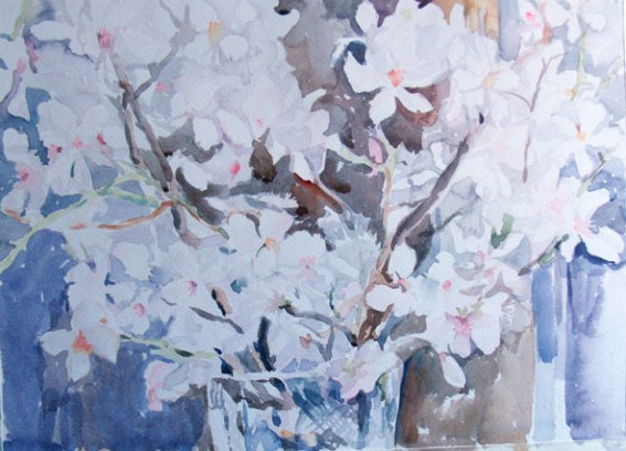#White Almond Blossoms in Crystal Vase 2015