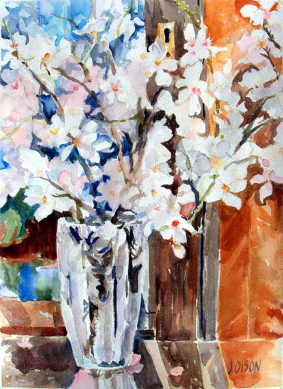 Almond Blossoms in Crystal Vase 2015 - Watercolor on Arches 300 GSM - 15 in x 11 in - 38 cm x 28 cm - $70.00 USD - Unframed - contact: victoriaangelesolson@hotmail.com