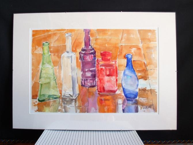 Glass Bottles in the Rain