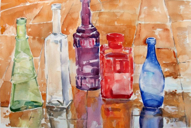 A watercolor of colorful glass bottles in the rain reflecting on the terrace floor.