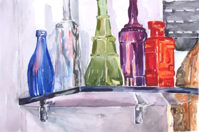 large watercolor of blue, clear, green, purple and red bottle on top of a black shelf