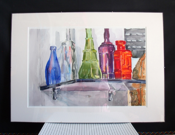 Glass Bottles on Shelf with plexi 2014