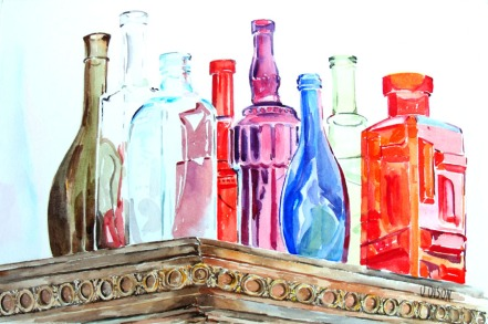 Watercolor of bottles on top of a closet. The glass bottles are of different shapes, colors and height. The closet rim can be seen across the bottle forming a corner pointing at the spectatpr