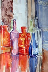 Glass Bottles on Table 2014