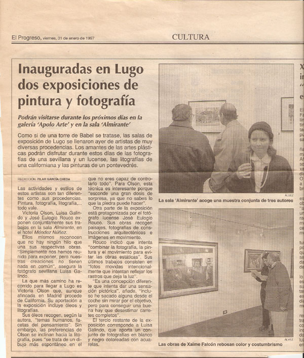 A newspaper clipping of an exhibition i had in Lugo, Spain.