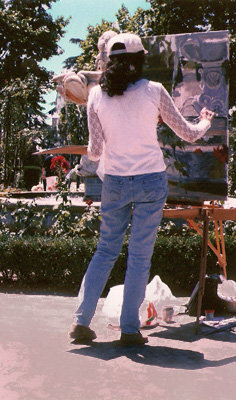 Painting Open Air in the Rose Garden at the Retiro Park in Madrid, Spain