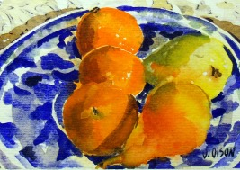 Tangerines and Pears on Talavera Plate 2014
