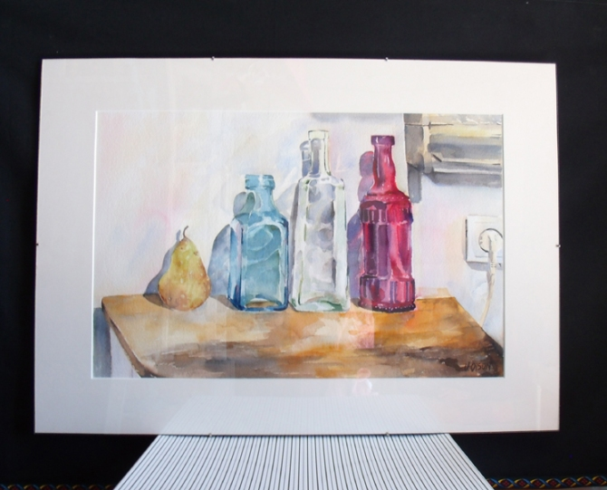Three Glass Bottles with a Pear 2014 with plexi