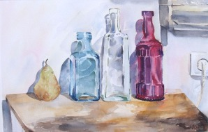 A large watercolor of colored glass bottles on top of a wooden table. There is a pear on the little table and a plug, plugged in the wall. There is also a peice of furniture on the top right hand side.