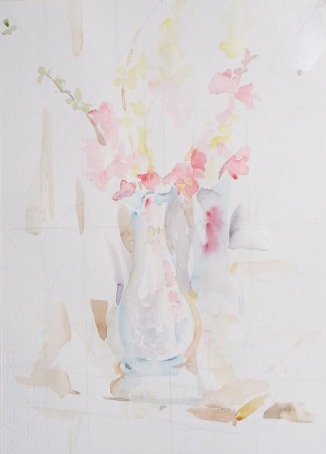 Then I place the vase, flowers and background on the paper lightly in case I need to move something.