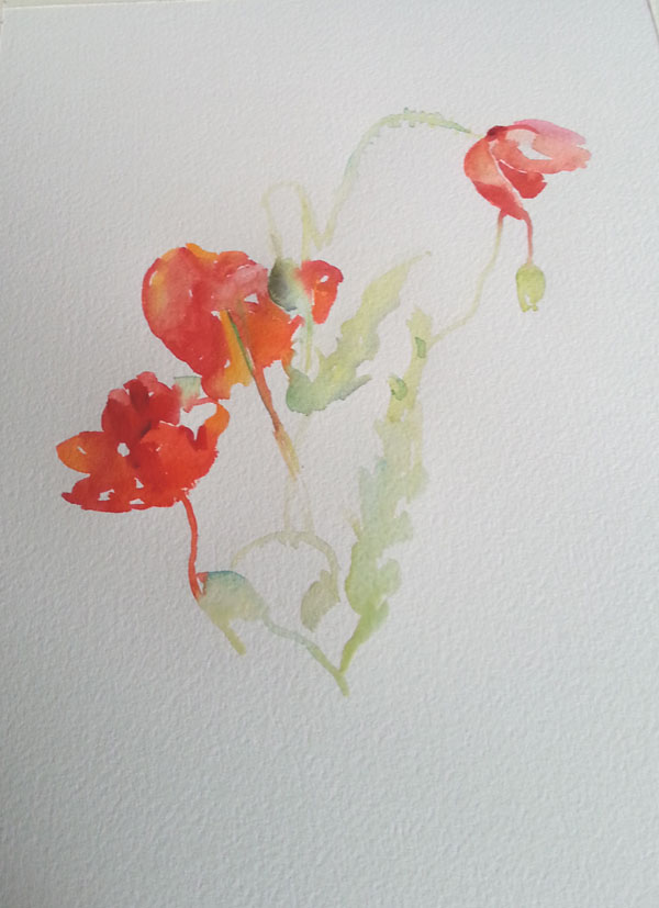 I estimate the distance between the flowers and paint the color, shape and tone directly as a finished stroke of the paintbrush.  Painting into them again will make the flowers hard looking.