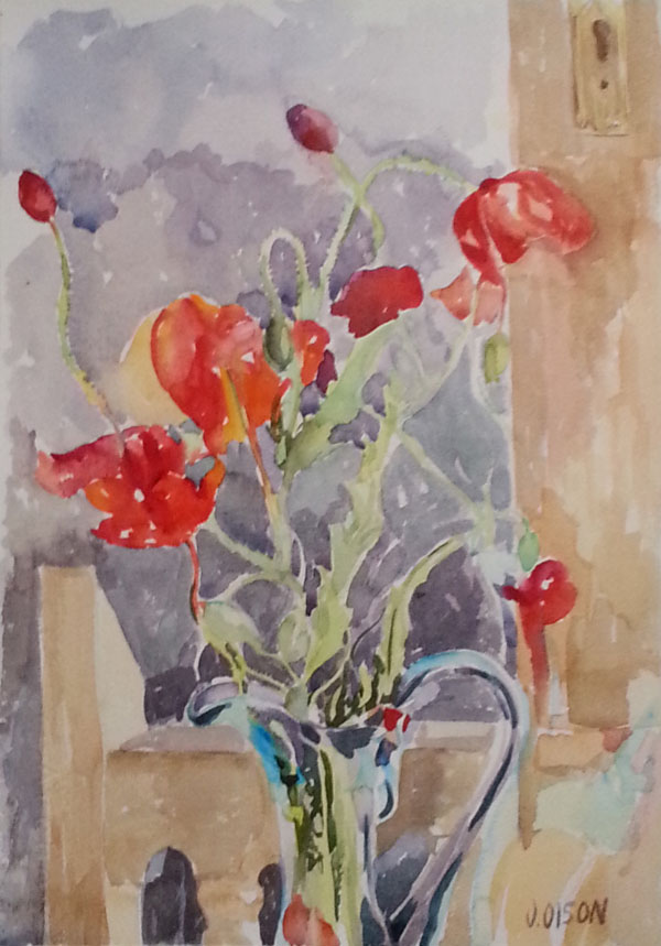 Red Poppies in Blue Vase April 2015 Watercolor on Arches 300 GSM - 15 in x 11 in - 38 cm x 28 cm - unframed - $70 USD