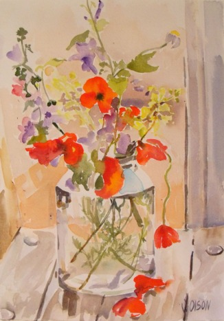 Wild Flowers in Pickle Jar  April 2015 Watercolor on Arches 300 GSM - 15 in x 11 in - 38 cm x 28 cm