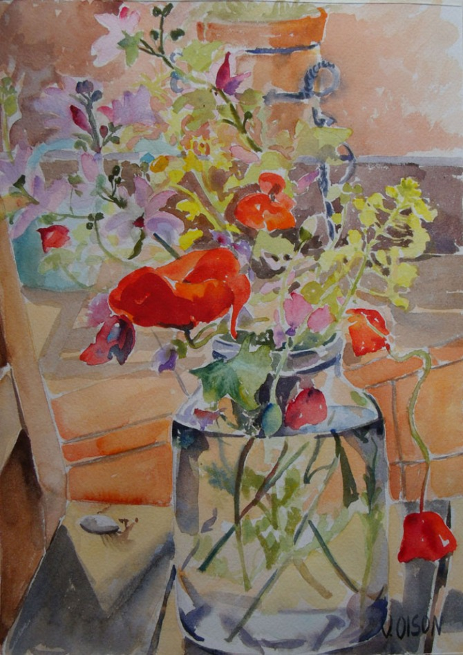 Red Poppies and Wild Flowers in Glass Jar April 2015