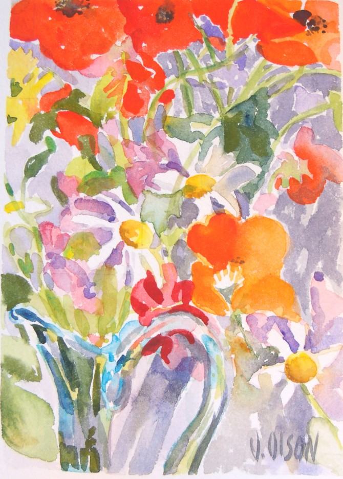 Poppies with Daisies in a Blue Vase May 2015