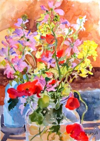 Poppies with Yellow and Violet Flowers April 2015
