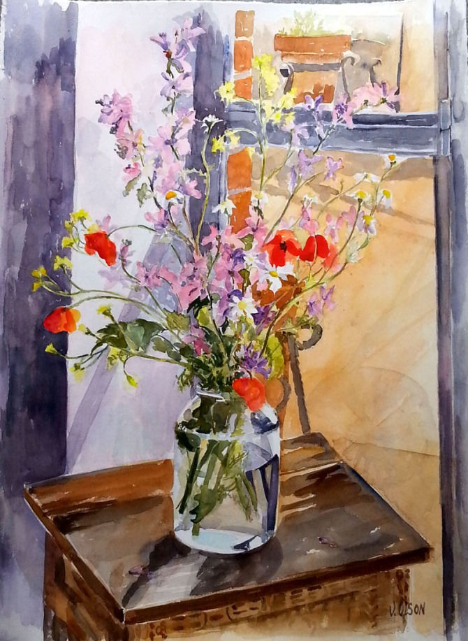 Wild Flowers in Pickle Jar May 2nd 2015