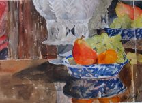 Spanish Botijo with Fruit 2014 Watercolor on Arches 300 GMS – 28×38 cm 11×15 in $133