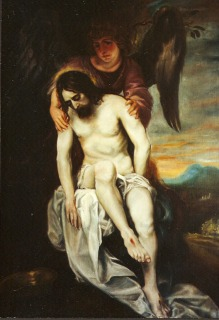 Reproduction of Jesus Sustained by an Angel by Alonso Cano painted by Victoria Olson O'Donnell
