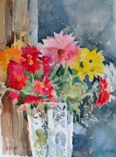 Colorful Flowers in Crystal Vase - 2015