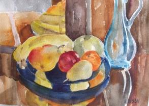 Fruit on Blue Plate 2014
