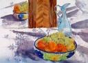 Fruit Bowl with Blue Glass Vase 2015