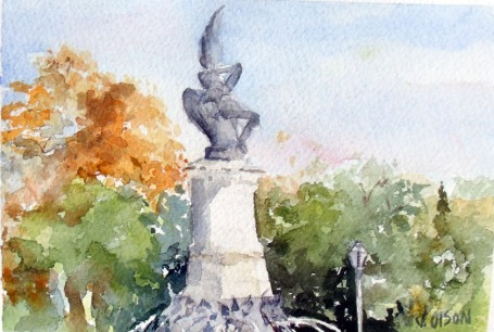 Fuente Àngel Caìdo Madrid, Spain 2014 - Watercolor on Arches 300 GMS - 5.5 in x 7.5 in - 14 cm x 19 cm