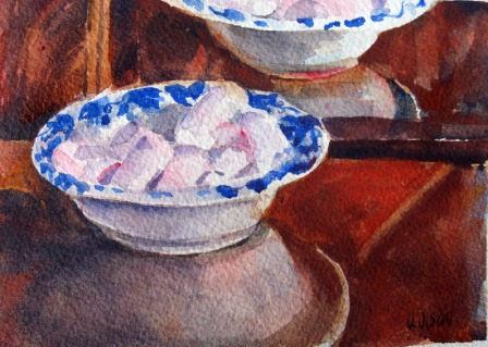 Pink Marshmellows in Ceramic Bowl 2015