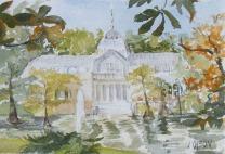 Palacio de Cristal Madrid, Spain 2014 - Watercolor on Arches 300 GSM - 5.5 in x 7.5 in - 14 cm x 19 cm