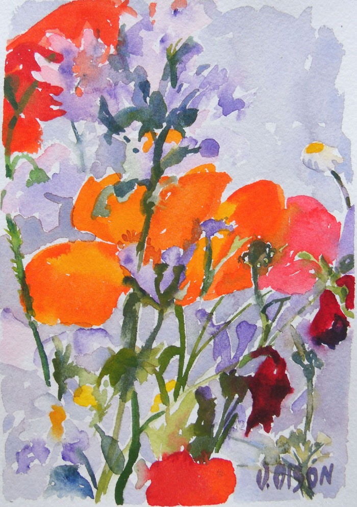 small watercolor of poppies with a violet grey background. There are orange and red poppies with daisies and little purple wildflowers.