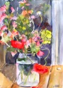 Poppies with Yellow and Violet Flowers in the Evening April 19th 2015