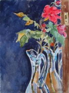 Red Roses in Blue Vase 2015