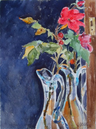 Red Roses in Blue Vase 2015