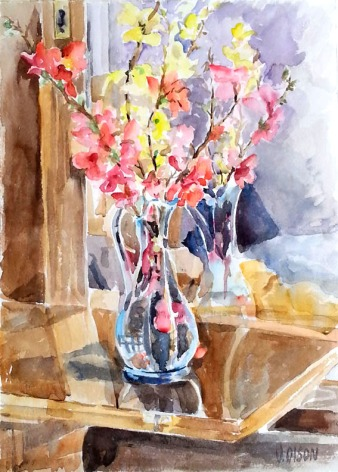 Spanish Spring Flowers in Blue Vase 2015
