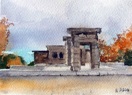 Templo de Debod Madrid, Spain 2014 - Watercolor on Arches 300 GMS - 5.5 in x 7.5 in - 14 cm x 19 cm