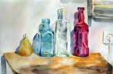 Three Glass Bottles with Pear 2014