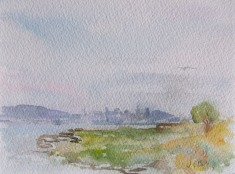 View of San Francisco from Alameda 2010 - Watercolor on Arches 300 GMS - 5.5 in x 7.5 in - 14 cm x 19 cm