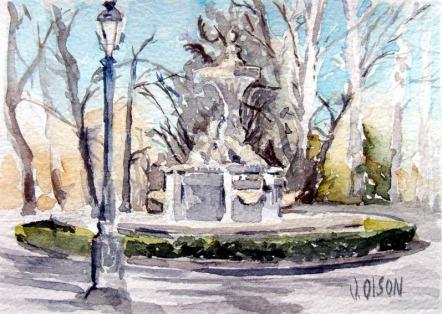 Fuente de los Galapágos Madrid Spain 2015 Watercolor on Arches 300 GSM - 5.5 in x 7.5 in - 14 cm x 19 cm