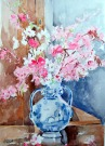 Pink Blossoms in Talavera Vase March 2015
