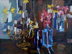 Candelabro with Bottles and Spring Flowers 2006