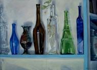 Colored Bottles on Shelf 2005