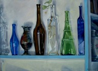 Colored Bottles on Shelf 2005