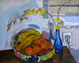 Fruit Bowl with Blue Bottle 2006