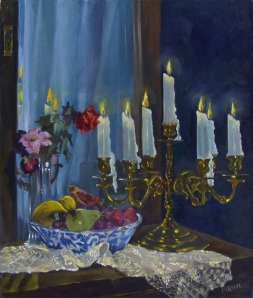 Lit Candelabro with Fruit Bowl and Spring Flowers 2005 (Painting was lost)